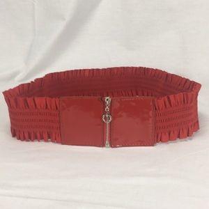 Red Ruffled Stretch Zip Up Belt